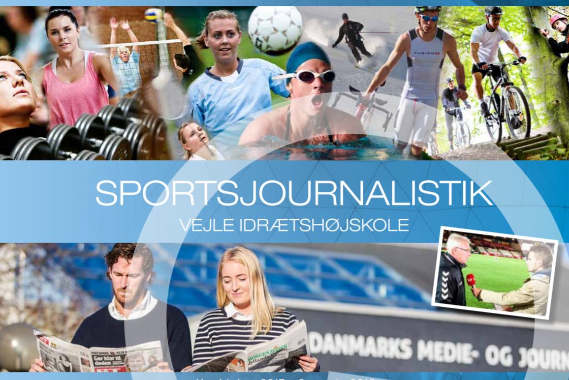 Brochure for sportsjournalistlinjen på Vejle Idrætshøjskole